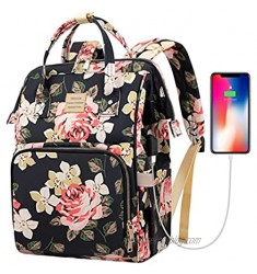 Laptop Backpack 15.6 Inch Stylish College School Backpack with USB Charging Port Water Resistant Casual Daypack Laptop Backpack for Women/Girls/Business/Travel (Flower Pattern)