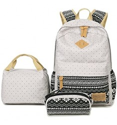 School Backpack Aiduy Student Canvas Bookbag Lightweight Laptop Bag with Lunch Bags and Pen Case for Teen Boys and Girls (Grey [3pcs])