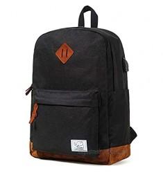 School Backpack College Lightweight Student Laptop Bookbag for Teen Boys Girls Black
