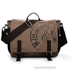 Vintage Canvas Shoulder Bag Teenager School Students Messenger Bag Laptop Crossbody Bags Satchel Handbags Coffee
