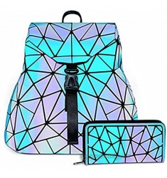 Holographic Backpack Purse for Women Geometric Luminous Backpack Wallet Set Reflective Leather Bag with Large Capacity Party Bags for Girls Suitable for Traveling or Shopping Blue (2PCS)