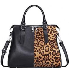 IBFUN Handbags for Women PU Leather Satchel Purse Ladies Shoulder Bags Top Handle Tote Black