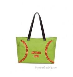 Oversize Baseball Shoulder Handbag  Embroidery Softball Prints Utility Tote HandBag Canvas Sport Travel Beach for Women Gifts
