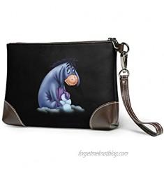 Eeyore Women Portable Soft Genuine Leather Clutch Wristlet Small Classic Bag Large Wallet