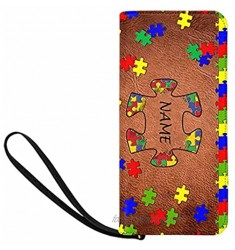 Personalized Name Clutch Wristlet with Strap  Jigsaw Puzzle Womens Wallet Ladies Cluth Wristlet Wrist strap Long Purse