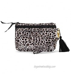 Solid Leopard Midnight Black and Brown 7 x 5 Polyester Phone Wristlet Handbag