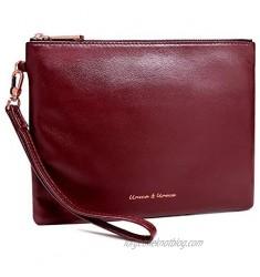 U+U Womens Large Wristlet Clutch Soft Leather Wallet Smartphone Zip Purse Handbag