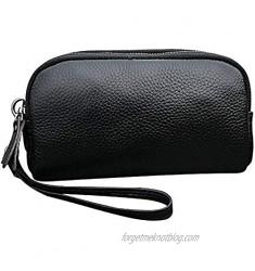 Women's Genuine Leather Wristlet Multi Zipper Pockets Wallet Organizer Bag