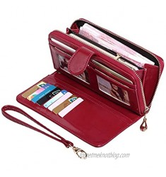 Women's Wallet Vintage PU Leather Long Wallet Phone Clutch Large Travel Purse Wristlet with Credit Cards Holders