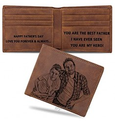 Custom Wallets for Men Personalized Leather Wallet Engraved Picture Text Customized Gifts for Fathers Day Birthday Anniversary