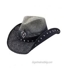 Peter Grimm Ltd Women's Country Jazz Fleur-De-Lis Straw Cowgirl Hat Black One Size