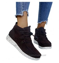 Women's High Top Ankle Boots Lace up Slip on Sneakers Ladies Cotton Lined Comfort Booties