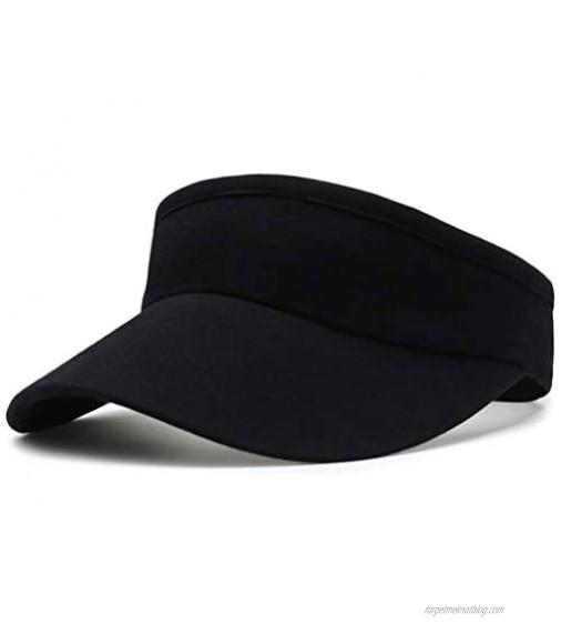 ADESUGATA Cotton Sports Sun Visor Hats - Empty Top Hat Adjustable for Women Men Running