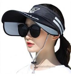 Women Summer Sun Visor Hat UV Protection Wide Brim Sun Hat with Retractable Visor Beach Cap Empty Top Hat
