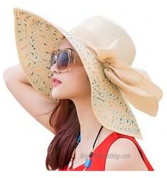 Itopfox Womens Foldable Floppy Big Bowknot Straw Sun Hat Wide Brim Summer Beach Vacation UV UPF 50