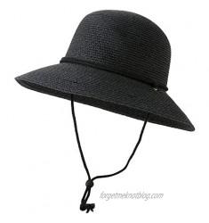 Lanzom Womens Foldable Wide Brim Straw Roll Up Sun Hat UPF 50 Summer Sun Hat with Wind Lanyard