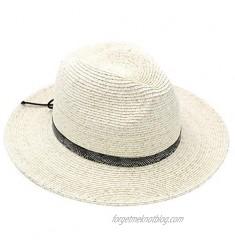 MORSTYLE Women Wide Brim Straw Panama Fedora Summer Beach Sun Hat UPF50+ Adjustable