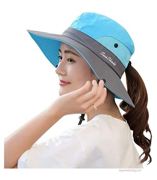 Sun Hats for Women Ponytail Hat Summer Outdoor UV Protection Foldable Mesh Wide Brim Beach Fishing Hat UPF 50+
