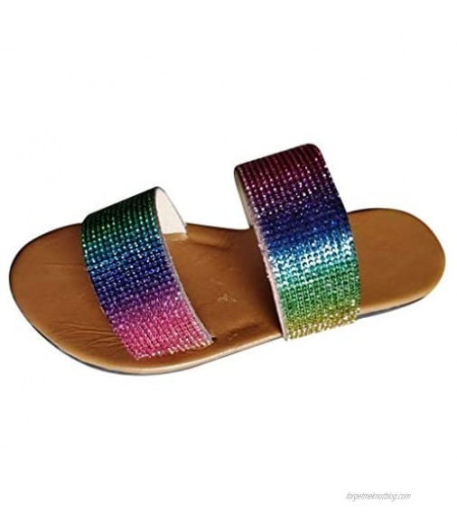 FakMe Women 2 Strap Platform Sandals Flat Slide Footbed Sandal for Women Women's Delighted Wedge Sandal