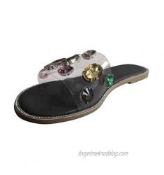 FakMe Women's Open Toe Fashion Flat Sandal Rhinestone Slip-On Flip Flop Sandals for Women Platform Beach Shoes