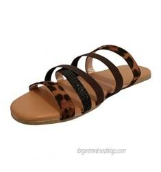 FakMe Women's Sandal  Lightweight Sandals for Women Cross Strap Flat Summer Shoes Womens Slide Sandals