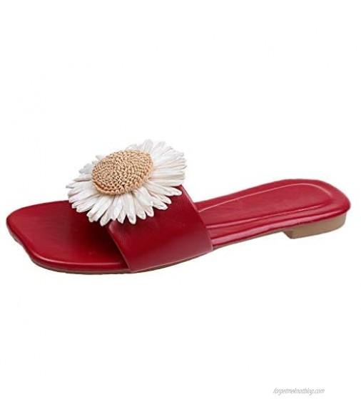 FakMe Womens Slides Sandals Summer Open Toe Little Daisy Flower Slip on Slippers Outdoor Slide Sandals for Womens
