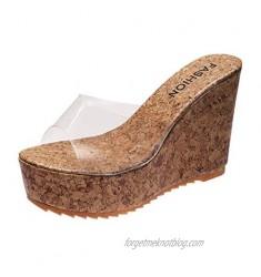 FakMe Women's Wedge Sandals Women's Beaded Flower Rhinestone Flat Sandals Dress Beach Shoes