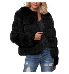LATINDAY Women Luxury Winter Warm Fluffy Faux Fur Short Coat Jacket Parka Outwear